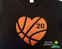 HEART BASKETBALL sparkly BASKETBALL glitter shirt by RiverImprints, $19.00