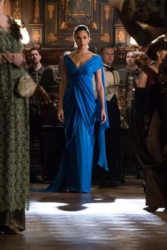 Wonder Woman in the blue dress. She looks like a goddess.