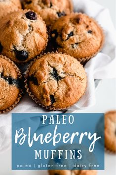 Healthy Blueberry Muffins (paleo, gluten free) - Simply Jillicious Paleo blueberry muffins are a healthy recipe to make and perfect for your clean eating lifestyle. Gluten Free Blueberry Muffins, Blue Berry Muffins, Blueberry Recipes, Healthy Muffins, Paleo Pancakes, Paleo Dessert, Paleo Crockpot Recipes, Paleo Meals, Chicken Recipes