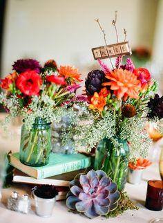 flowers in mason jars | Tablescapes : wedding decor havre de grace Flowers04 flowers04