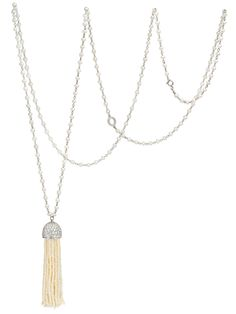 Ivanka Trump 18k White Gold Sea Pearl Tassel Necklace with Diamond Accents. 18k White Gold with Sea Pearls and Diamond Accents. Necklace 36 inches Long. Available at London Jewelers.