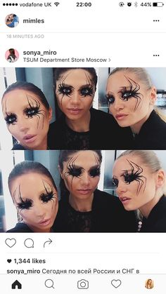 This was an idea for a possible makeup. Although I actually want to cover the eyes with hair to make it seem like you're walking into a cobweb - so I may do something like this spider makeup around the mouth area