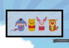 This is a parody, an inspirational cross stitch pattern of the cartoon Winnie the Pooh, featuring: Eeyore, Winnie the Pooh, Piglet and Tigger  PATTERN DETAILS: Stitches: 93x28 Size (with 14 count Aida fabric): 17x5 cm – 6.7x2 in  With purchase, youll receive a DOWNLOAD LINK to a PDF pattern that includes: - Cover page with image and pattern size - Full color chart with symbols - DMC and Anchor floss legend and number of skeins needed  -------------------------------------- PLEASE NOTE…