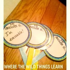 Easy to make dry-erase sticks to keep in desk caddies. Kids can write an answer on it then hold it up.