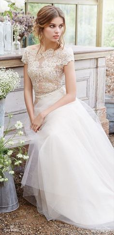 Ivory Gold natural waist gown, Alencon lace bodice and illusion bateau neckline, capped sleeves and deep V scalloped back, A-line skirt with Alencon lace accents, champagne underlay with sparkle tulle and chapel train.