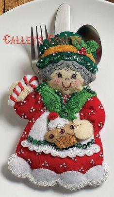Christmas Ornaments Bucilla Christmas by on Etsy Felt Christmas Ornaments, Christmas Crafts, Christmas Decorations, Holiday Decor, Felt Crafts, Diy And Crafts, Silverware Holder, Felt Applique, Christmas Morning