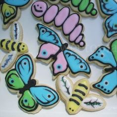 Spring sugar cookies decorated with royal icing.
