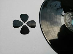 Guitar picks made from an old vinyl.
