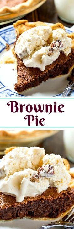 Brownie Pie tastes like a rich, fudgy brownie in a flaky pie crust.