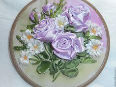 Купить Вышивка лентами Аромат лета - сиреневый, вышивка, Вышивка лентами, розы, ромашки