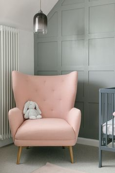 Gender Neutral Nursery Baby Ideas Pink & Blue Colour Scheme Pink Baby Feeding Chair – Wingback Chair In Pink