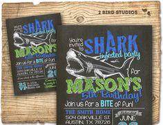Shark birthday invitation  Shark birthday party by 2birdstudios