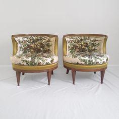 2 HOLLYWOOD REGENCY round barrel back accent chairs mid century modern vtg | eBay