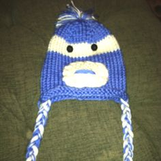 Blue 6 month old sock monkey hat $25 made by me!!