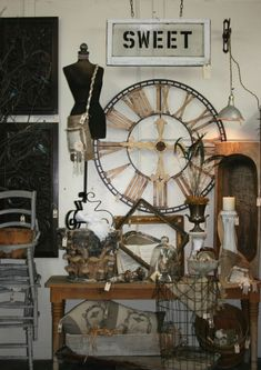 Sweet salvage 001 yum-0 where do i begin... Clocks, dress forms, vintage, canvas/burlap, metal... Click my heels three times & im there!