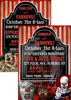 Evil clown invite, scary clown invitations, clown halloween party invitations, creepy halloween invites, pennywise invites INVHWN02