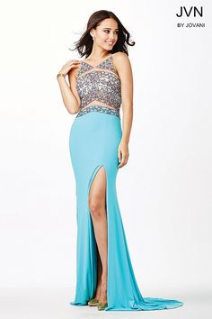 Go ahead and take a look at the exquisite multicolored beadwork on this jersey dress JVN33391
