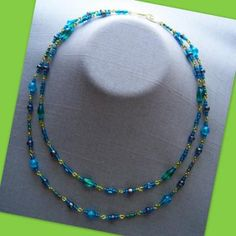Teal Blue Grey Double Necklace by AthomicArtandDesign for $12.00