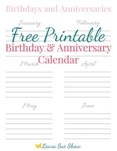 Print this adorable free birthday and anniversary calendar so you can keep track of all the important days that like to sneak up on you throughout the year! That way you'll have plenty of time to be prepared with cards, a gift, etc.