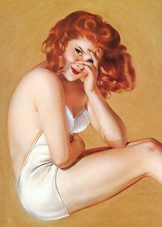vintage pin up - Love the little heart shape in her hair
