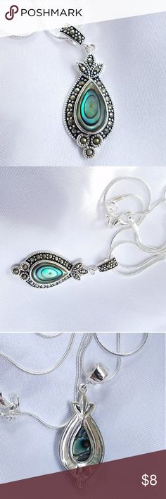PRETTY ABALONE PENDANT/ NECKLACE Silvertone Abalone necklace.  Includeds 2 chains Jewelry Necklaces