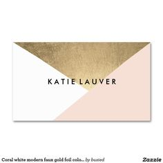 Coral white modern faux gold foil color block chic standard business card