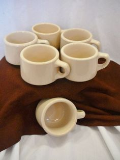 "Fabulous condition! 1950-60's 6 Wallace Restaurant Ware Coffee Mugs 2 1/2""  Tall #WallaceChina"