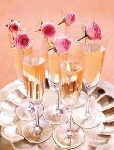 Spring Rose Buds Garnish Champagne Flutes