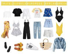 The Perfect Spring Break Capsule Wardrobe - College Fashion Capsule Wardrobe Examples, Wardrobe Sets, Travel Wardrobe, College Fashion, College Outfits, Bag Essentials, Summer Minimalist, Travel Capsule, Spring Outfits