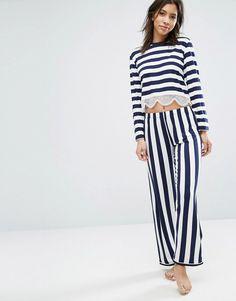 Chelsea Peers Lace Trim Long Pyjama Set Lounge Wear b7fd6191e