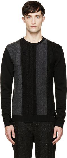Fendi - Black & Grey Cable Knit Sweater  #Fendi #Fashion