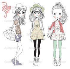 Descargar - Chicas de ilustración de moda — Ilustración de Stock #25513933