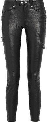 Shop Now - >  https://api.shopstyle.com/action/apiVisitRetailer?id=608115053&pid=uid6996-25233114-59 FRAME - Moto Leather Skinny Pants - Black  ...