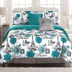 Create a cozy bedroom retreat with this twin or full/queen size Paris comforter bedding set. The comforter is made from brushed microfiber polyester for an ultra-soft feel. The 4 piece twin size set includes 1 comforter, 1 sham, and 2 decorative pillows. Paris Room Decor, Paris Rooms, Paris Bedroom, Paris Themed Rooms, Teal Bedding Sets, Comforter Sets, Blue Comforter, Bedroom Turquoise, Blue Bedroom
