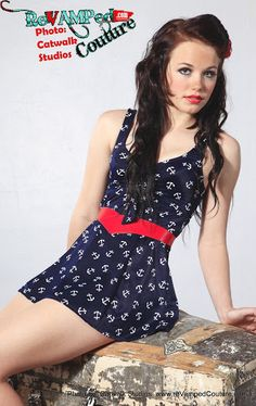 Navy Anchor sailor skirted one piece swim suit 80s Vintage sweetheart tie bathing suit pin up nautical. $39.00, via Etsy.