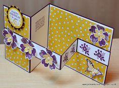 JanB Handmade Cards Atelier, this is such a pretty card, youtube directions for two other color ways, blushing bride and blue lagoon, cute Easter card in yellow and lavender!
