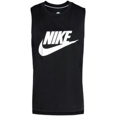 Nike T-shirt (390 ARS) ❤ liked on Polyvore featuring tops, t-shirts, black, no sleeve tops, jersey tee, nike top, side slit top and sleeveless t shirt