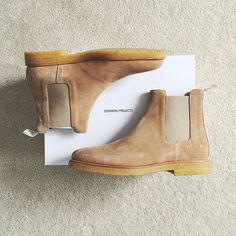 Common Projects tan chelsea boots.