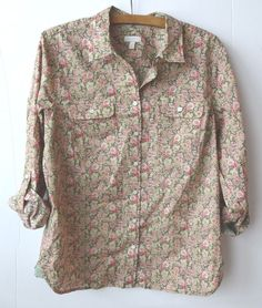 Women's Talbots Outlet Spring Blouse Size Medium M Paisley Floral Green Pink NWT #Talbots #ButtonDownShirt