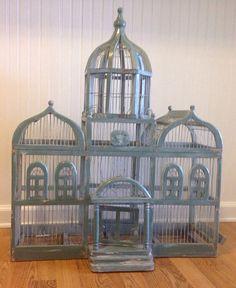 Vintage Large Wood Bird Cage Moroccan Style Taj Mahal Birdcage Green Bird Cage Victorian Wedding Centerpiece at Ageless Alchemy