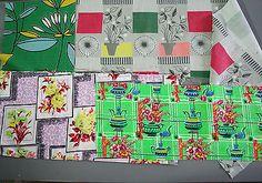 vintage 1950s floral cotton barkcloth fabric pieces crafts patchwork