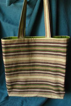 Green & Black Striped Tote Bag/LG by TurtleFishCreations on Etsy