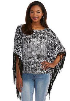 e239a39a99beb2 Cato Fashions Fringed Aztec Poncho Top  CatoFashions Plus Size Women s Tops