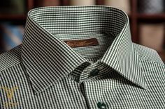 Green Mini Check Dress Shirt WIth Semi Spread Collar And Double Button  Bevelled Cuffs