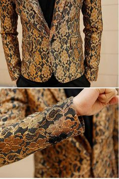 New Mens Special Floral Lace Retro Rare Slim Casual Suit Party Blazer Jacket
