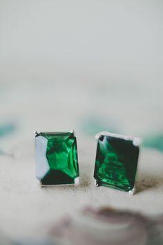 #Earrings | #Green | See the wedding on http://www.StyleMePretty.com/2014/01/23/diy-wedding-on-mackinac-island/ Photography: Justine Montigny