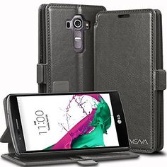 LG G4 Wallet Case - VENA® [vFolio | GENUINE Leather] Slim Vintage Flip Wallet Stand Case with Card Slots for LG G4 2015 (Not compatible With Leather LG G4) (Gray / Black), http://www.amazon.com/dp/B00VXQI0RK/ref=cm_sw_r_pi_awdm_oEMCvb0M8YYTA