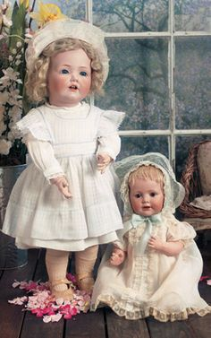"""View Catalog Item - Theriault's Antique Doll Auctions - 24"""" JDK 237 """"Hilda"""" Toddler 18"""" JDK 247 """"Baby Jean"""", both by Kestner ca 1912 -1914"""