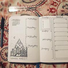 Bullet journal weekly layout, cursive date headers, weekly meal planner, weekly task list, outdoor drawing, camping drawing. @kate.bjournals
