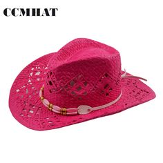 Women s Cowboy Hats Big Red Adult Straw Hats Summer Fashion Cowboy Hats For Women s  Hollow Cowboy Hat Caps Clothing Accessories adaff73045e2